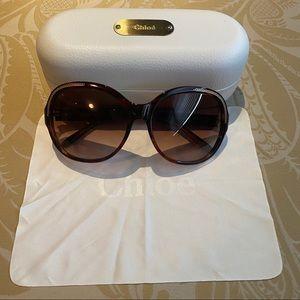 Chloe Brown Tortoise Frame Round Sunglasses